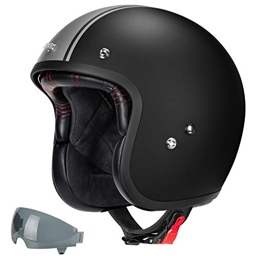 GLX Fiberglass Vintage 3/4 Open-Face Adult Motorcycle Helmet with Extra Tinted Visor for Scooter Moped Cruiser, DOT Approved