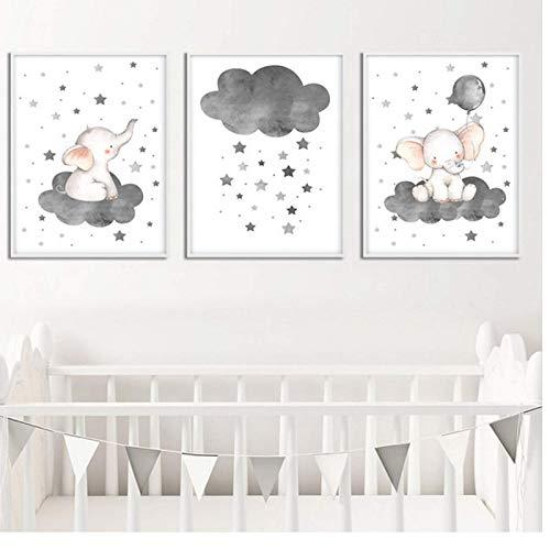 FRTTCYO Poster Cartoon Elefant Ballon Wolke Poster Tierkinderzimmer Kunstdruck Wandbild Leinwand Malerei Nordic Kid Baby Schlafzimmer Dekoration -50x70cmx3 Kein Rahmen