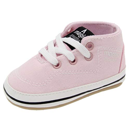 Baby Boys Girls Canvas Toddler Sneaker Anti-Slip Lace-Up First Walkers Candy Shoes 0-18 Months (Pink, Age:0-6Months)