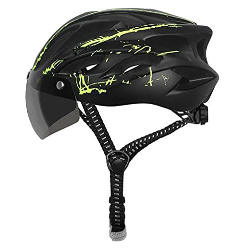 Casco de bicicleta con visor Ciclismo Casquillo protector de seguridad transpirable Casco de bicicleta verde para juegos al aire libre
