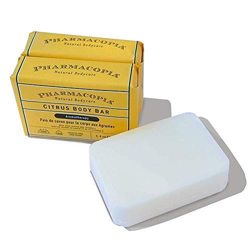 Pharmacopia Citrus Body Bar – Aromatherapy Body Soap with Natural & Organic Ingredients – Vegan Body Wash Bar for Men & Women, 4.4oz, Pack of 3