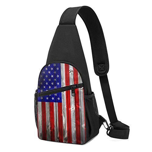 DEKIFNHG American Flag Sling Backpack Hiking Daypack Crossbody Shoulder Bag