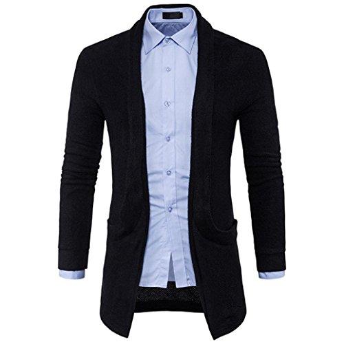 Toamen Manteau Hommes, chandail Slim Fit pull en tricot Pull Cardigan Couleur unie Manches longues Manteau Mode Pour des Hommes (L2,Noir)
