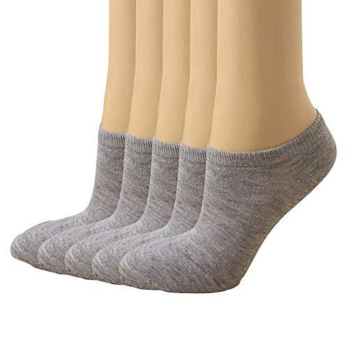 ZZBO 5Paar Erwachsene Damen Kurze Socken Uni Farben Füßlinge Sneaker Socken Laufsocken Atmungsaktiv Freizeit Bequeme Knöchelsocken Halbsocken Anti-Rutsch-Streifen Sportsocken Atmungsaktiv