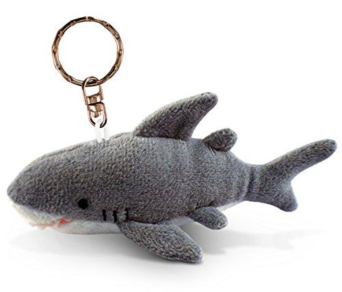 Puzzled Shark Plush Keychain Stuffed Animal Toy - Soft Fur Ocean Life Animal Grey Shark Charm Keyring, Cute Decorative Plush Toy Accessory Fun Buddy For Kids Bag, Purse, Backpack, Handbag - 4 Inches