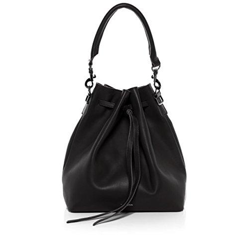 FEYNSINN Schnürbeutel echt Leder NIK Hobo Bag Beuteltasche Ledertasche Damen schwarz