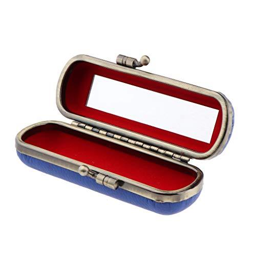 MERIGLARE Boîte De Rangement De Bijoux Compacte De Support De Brillant à Lèvres De Rouge à Lèvres Avec Miroir Et Clip En Métal - Bleu