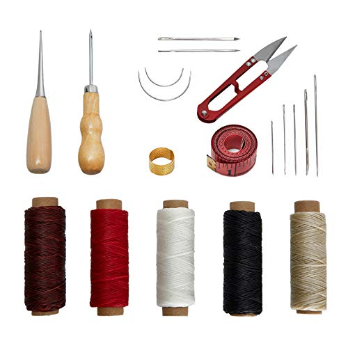 Leather Tooling Kit 19 Pcs Hand Sewing Craft ToolsCraft Leather DIY Hand Stitching Sewing Tool Set Including Including Awl Waxed Thread Kit for BeginnerLeather MakingLeather Craft DIY