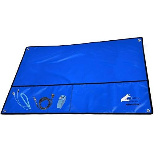 Minadax ESD - Tappetino antistatico blu, 60 x 80 cm. Blau 60x80cm
