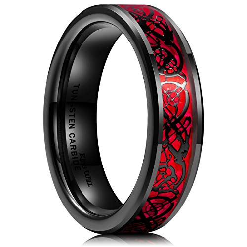 King Will Dragon Men's 6mm Red Carbon Fiber Black Celtic Dragon Tungsten Carbide Ring Comfort Fit Wedding Band 8