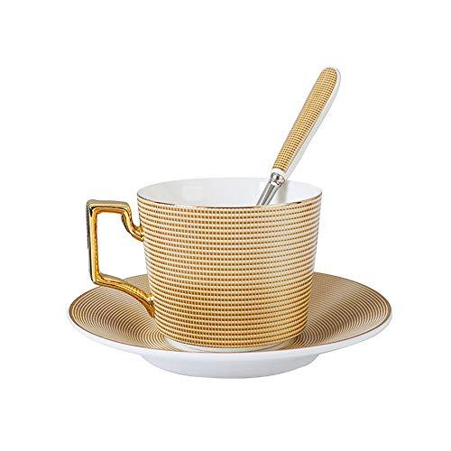 Latte Colazione Cup Household Porcellana Tazza e piattino Tazza da tè Set d'oro con piattino e Cucchiaio (Color : Gold, Size : One Size)