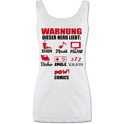 Shirtracer Nerds & Geeks - Warnung Dieser Nerd liebt - rot - L - Weiß - Warnung Dieser Nerd liebt - P72 - Tanktop für Damen und Frauen Tops