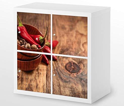 Set Möbelaufkleber für Ikea Kallax 4 Fächer/Schubladen Cayennepfeffer Schale rote Paprika Chili Kat4 Küche Aufkleber Möbelfolie sticker (Ohne Möbel) Folie 25H621