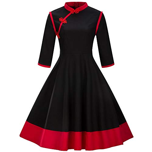 MIRRAY Damen Brautkleid Stehkragen Casual Retro Mode Kleider 3/4 Ärmel Patchwork Flare Kleid Festival Kostüm