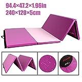 CCLIFE 240x120x5cm Rosa&Lila Klappbare Weichbodenmatte Turnmatte Fitnessmatte Gymnastikmatte rutschfeste Sportmatte Spielmatte