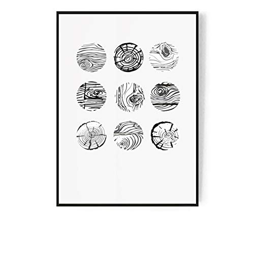LiMengQi2 Anillos de árbol Abstractos nórdicos en Blanco y Negro Lienzo Pintura Arte de la Pared Imagen para Sala de Estar Morden decoración Imagen (sin Marco)