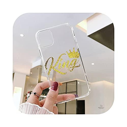Carcasa para iPhone 12, diseño de corona King transparente para iPhone 6, 7, 8, 11, 12, S, Mini Pro X, XS y XR Max Plus se -A10-Iphone 5S, color dorado