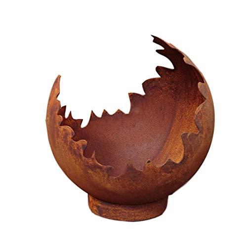 terracotta-toepfe-de Deko/Feuerkugel/Pflanzkugel aus Metall -hergestellt in der EU- Edelrost Rost mit Standring Windlicht Garten Pflanzgefäß Blumentopf
