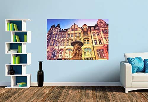 Premium Foto-Tapete Leipzig, Lipsia-Brunnen und Belle Époque Häuser (versch. Größen) (Size S | 186 x 124 cm) Design-Tapete, Wand-Tapete, Wand-Dekoration, Photo-Tapete, Markenqualität von ERFURT