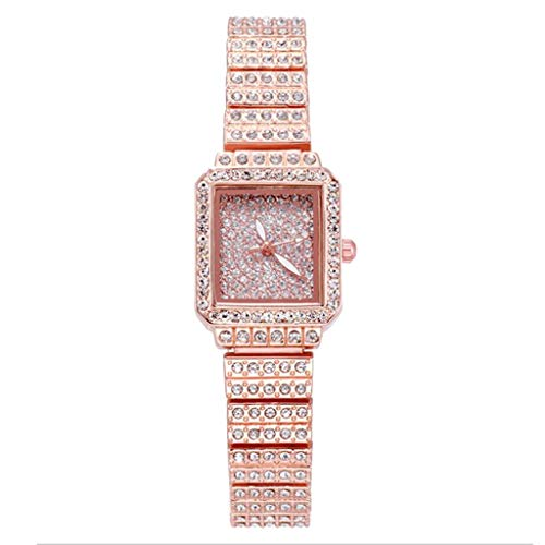 JZDH Relojes para Mujer Relojes de Mujer Cuadrada Rhinestone de Acero Inoxidable Moda Diamante Diamante Lady Reloj Reloj de Pulsera de Reloj Femenino Relojes Decorativos Casuales para Niñas Damas