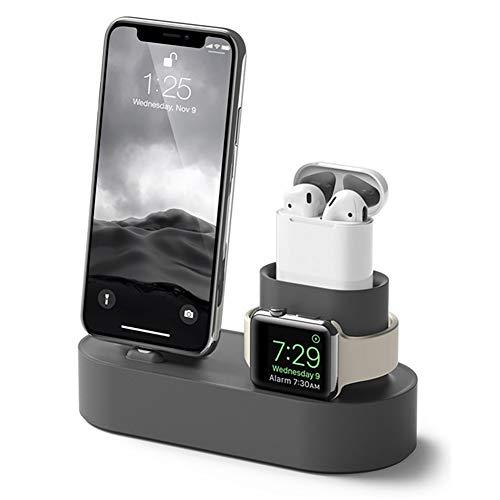 XArtfacnt Cartel De Carga Rápida Y Compatible con Caragoteca Rápida Y Compatible Multifuncional con Múltiples Funciones De Protección para iPhone/Iwatch/Airpods,Gris