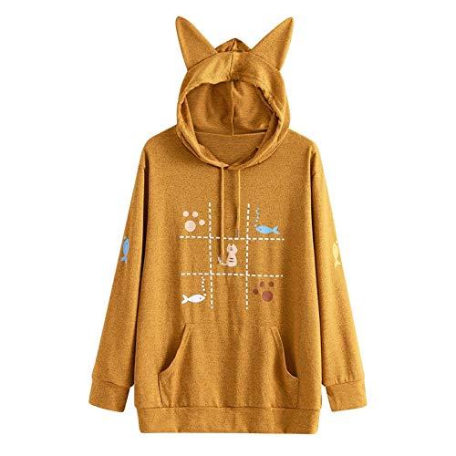 Bluza z kapturem damska bluza z kapturem Kawaii różowa zima kot uszy wzór Top długi rękaw Moletom Hooded bluza uszy kaptur XL Ge