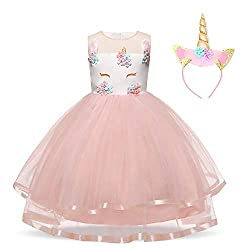 Pink with Headband Kids Ruffles Lace Dress