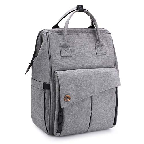Eono by Amazon – Changing Bag Backpack, Baby Diaper Bag Nappy Back Pack with Changing Mat for Mom and Dad (Grey)