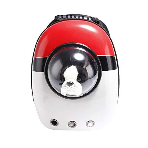 Mochila para gatos y perros gordos, senderismo y uso al aire libre, bolsa de burbujas transparente para mascotas pequeñas y medianas, color rojo y blanco