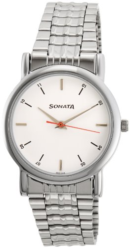 Sonata Analog White Small Dial Men's Watch -NJ7987SM03W