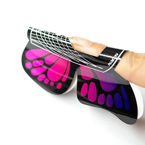 KADS Lot de 100 formes pour faux ongles en gel autocollant en forme de papillon pour ongles en acrylique
