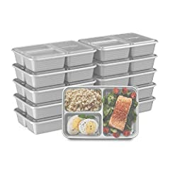 MEAL-PREP MADE EASY: Trays and lids nest together, stack neatly, and are microwaveable to make meal-prep a breeze PORTION-PERFECT: No need to measure your portions — volume is already embossed on the tray SEALS IN FRESHNESS: Custom-fit lids keep meal...