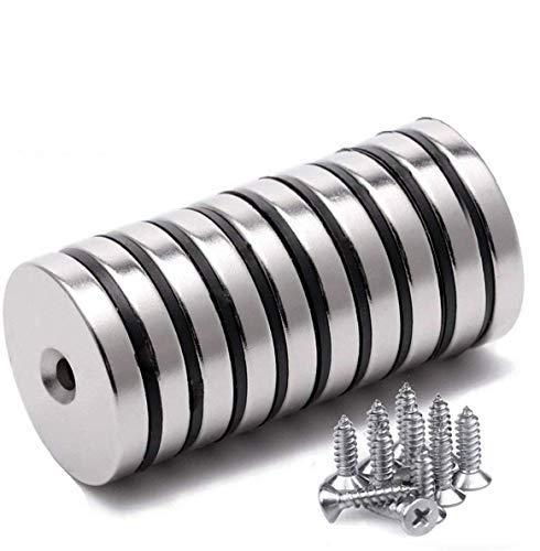 Magnete Stark, Neodym Starker Magnet Disc Senkerodier Magnete Stark Permanent Rare Earth Magnet mit 10 Schrauben für Handwerk (32mm 10pc)