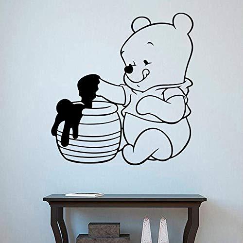 Tianpengyuanshuai kleine beer muursticker kinderkamer schattige beer eten honing vinyl wandtattoo cartoon heerlijke decoratie