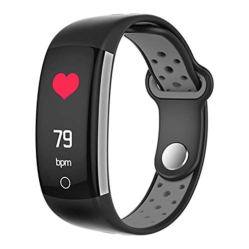 LLM Pulsera Inteligente Q6 Bluetooth Smartwatch para Hombres Monitor de presión Arterial con frecuencia cardíaca Reloj Deportivo Rastreador de Ejercicios para Android iOS(B)