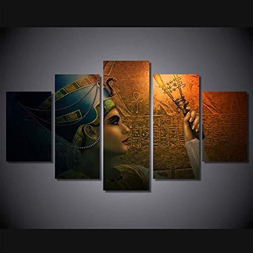 SFDHG Lienzo 5 Piezas Reinas de Egipto Mural no tejidohd Cuadros parafondo del Dormitorio-No Frame-110x60Cm