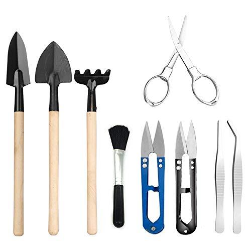 N\C 9 Stück Bonsai Werkzeug, Mini-Garten Handwerkzeuge, Miniatur Gartenarbeit Werkzeug, umfasst Gartenschere, Schere, Mini-Harke, Pinsel,Knospen- und Blattschneider für Gartenpflege