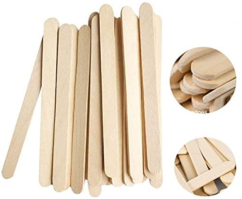 DEZHI 150 Stück Holzstäbchen Holzspatel,11.4 cm lang,1 cm breit, Holzstäbchen für EIS am und Basteln DIY Handwerk