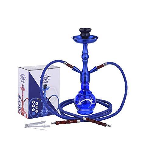 CHAMP - Belle Chicha 2 Tuyaux - Narguilé - Hookah - 45cm - Disponible en Rouge, Noir, Bleu, Violet - INOX et Verre - Livrée avec Foyer en céramique, 2 tuyaux Plastique et Pince - métal - Bleu