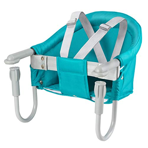 Costzon Baby's Fast Hook On Table Chair, Portable and Folding Baby High Chair of Iron Pipe Frame, with Tight Fixing Clip, Machine-Washing Fabric for Baby's Seating Aside Table (Green)
