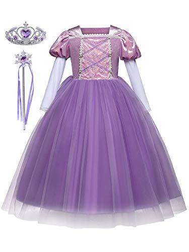 DJSJ- Rapunzel púrpura Poliéster Tul Vestido Niña niños Falda Tutú Cumpleaños Parte...