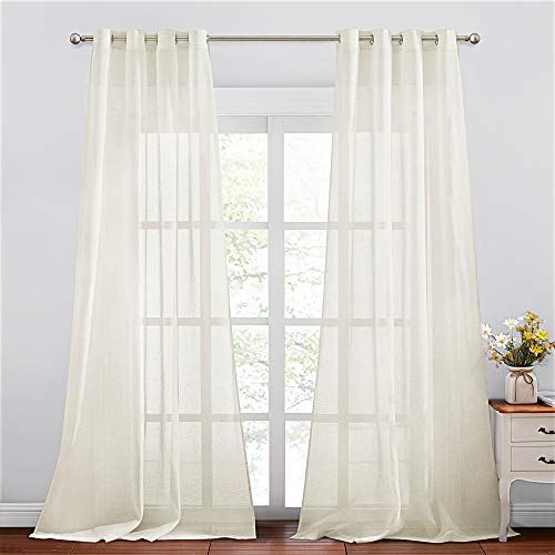 NICETOWN Flax Sheer Linen Curtains 96 inch Length, Grommets Sweep The Floor Decorative Keep Privacy Semitransparent Linen Sheer Panels for Living Room/Villa/Bedroom, 2 Pieces, Natural