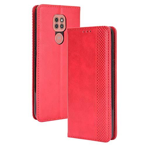 FANFO® Funda para Motorola Moto E7 Plus/Moto G9 Play, Billetera de Cuero PU Retro Elegante Cubierta Cierre Magnético Case Cover, Cubierta Estilo Libro en Folio Estuche, Rojo