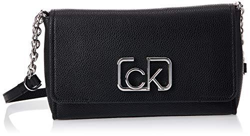 Calvin Klein Damen Ck Cast Flap Xbody Umhängetasche, Schwarz (Black), 8x16x25 centimeters