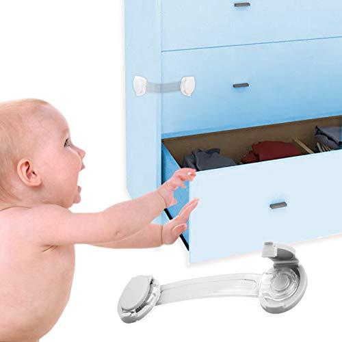 O³ Blocca Cassetti per Bambini - 10 Chiusure Sicurezza per Bambini | Armadio - Cassetti | Materiale ABS - Non Tossico | Colore Bianco