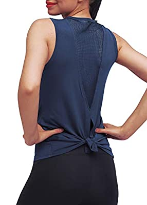 Mippo Workout Clothes for Women Sexy Open Back Yoga Tops Mesh Tie Back Muscle Tank Workout Shirts Sleeveless Cute Fitness Active Tank Tops Comfort Sports Gym Clothes Fashion 2020 Navy Blue S
