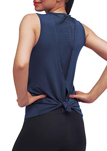 Mippo Workout Tops for Women Yoga Tops Mesh Running Tie Back Tank Tops Workout Tank Shirts Muscle Tanks Sport Clothes Active Athletic Wear for Women Navy Blue S