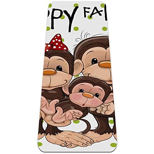 Esterilla Yoga,Feliz familia de monos ,Esterilla Deporte Antideslizante Ecológica y 100% Natural de,No tóxico,para Pilates,Fitness