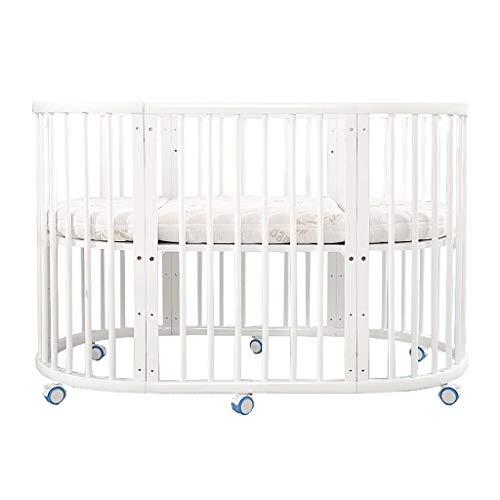 LXJ Cuna de Madera Maciza, Cama Redonda móvil Multifuncional para recién Nacidos/niños, con Rueda de Desplazamiento, mosquiteras, Convertible a múltiples Modos, Blanco