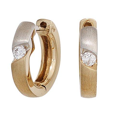 JOBO Damen-Creolen aus 585 Gold Bicolor mit 2 Diamanten